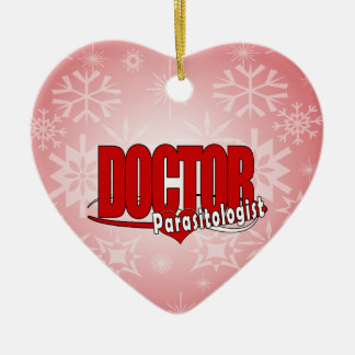 LOGO DOCTOR PARASITOLOGIST Double-Sided HEART CERAMIC CHRISTMAS ORNAMENT