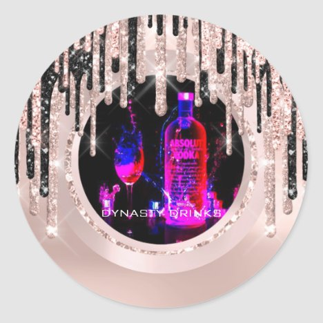 Logo Dynasty Drinks Event Lux Drips Rose Pink Classic Round Sticker