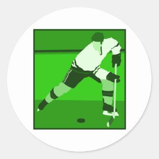 Logo - green Ice Hockey Classic Round Sticker