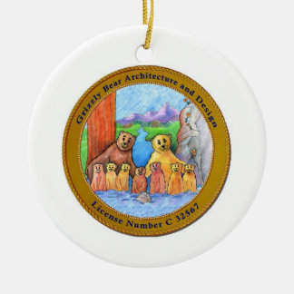 Logo Grizzly Bear Architecture Double-Sided Ceramic Round Christmas Ornament