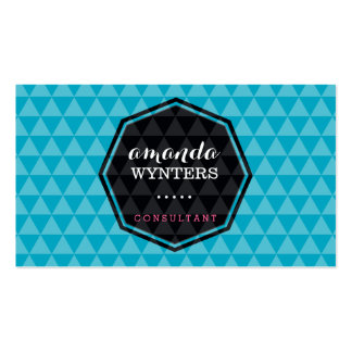 LOGO modern geo pattern emblem octagon turquoise Double-Sided Standard Business Cards (Pack Of 100)