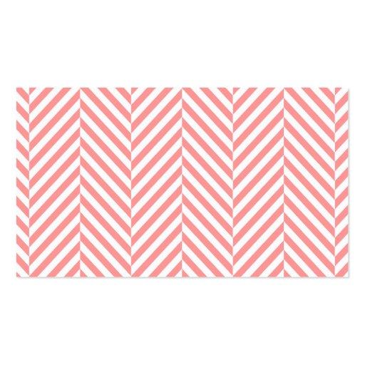 LOGO modern herringbone pattern coral badge grey Business Card Template (back side)