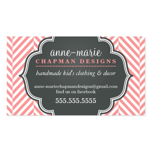 LOGO modern herringbone pattern coral badge grey Business Card Template (front side)