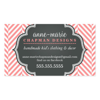 LOGO modern herringbone pattern coral badge grey Double-Sided Standard Business Cards (Pack Of 100)