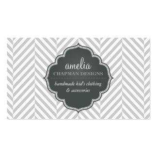 LOGO modern herringbone pattern grey badge silver Business Card