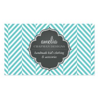 LOGO modern herringbone pattern grey turquoise Business Card