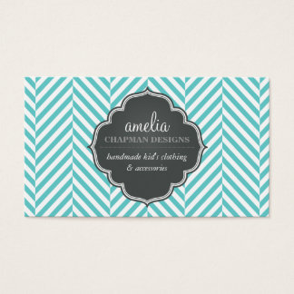 LOGO modern herringbone pattern grey turquoise Business Card