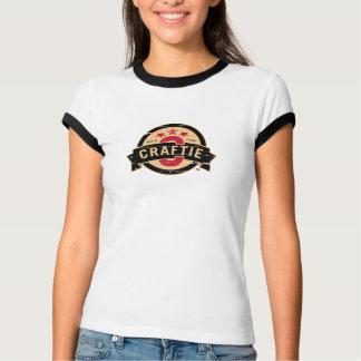 Logo on White / Black Ringer (Ladies) T-Shirt