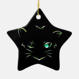 logo robber cat ceramic ornament