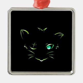 logo robber cat metal ornament