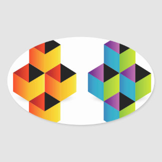 Logo with colorful cubes and shadow oval sticker