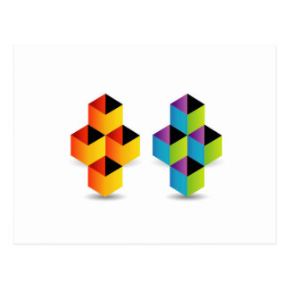 Logo with colorful cubes and shadow postcard