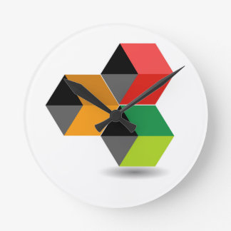 Logo with colorful cubes and shadow round clock