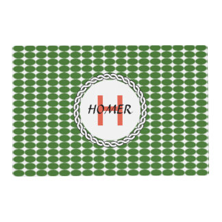 Logo with green polka dots placemat