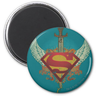 Logo with Wings - Blue 2 Inch Round Magnet