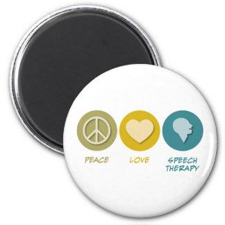 Logopedia del amor de la paz imán redondo 5 cm