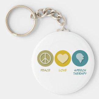 Logopedia del amor de la paz llaveros
