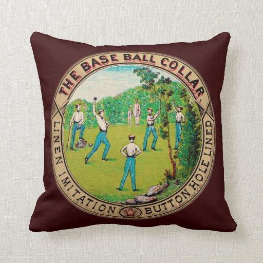 Logotipo 1868 del cuello del béisbol del vintage almohadas