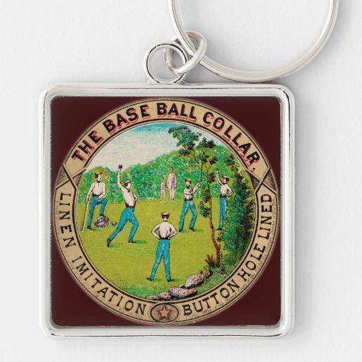 Logotipo 1868 del cuello del béisbol del vintage llavero personalizado