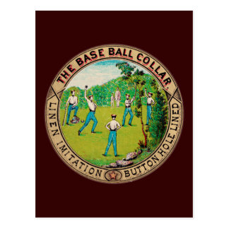 Logotipo 1868 del cuello del béisbol del vintage postales