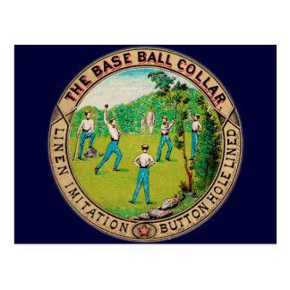 Logotipo 1868 del cuello del béisbol del vintage postal