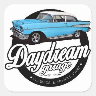 Logotipo 1957 del garaje del Bel Air de Chevy Pegatina Cuadrada