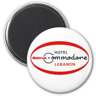 Logotipo 1983 del comodoro del hotel imán redondo 5 cm