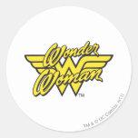 Logotipo 1 de la Mujer Maravilla Etiqueta Redonda