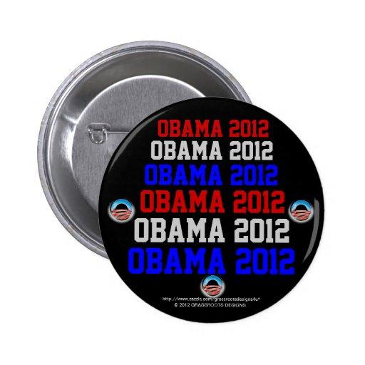 Logotipo 2012, rojo, blanco, y azul de Obama Pins