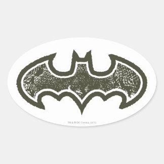 Logotipo 2 de Batman Nouveau Pegatinas De Oval Personalizadas