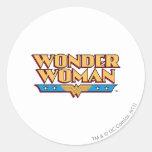 Logotipo 2 de la Mujer Maravilla Etiqueta Redonda
