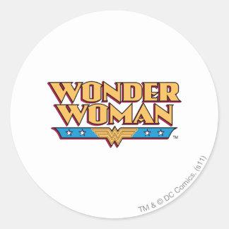 Logotipo 2 de la Mujer Maravilla Pegatina Redonda