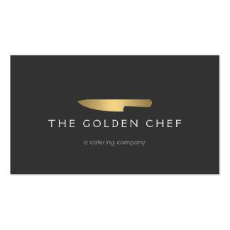 Logotipo 2 del cuchillo del cocinero del oro para  tarjetas de visita