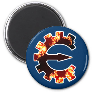 Logotipo 2 del motor del tramposo - fractal imán redondo 5 cm