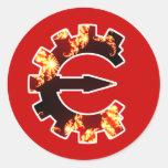 Logotipo 2 del motor del tramposo - fractal etiquetas redondas