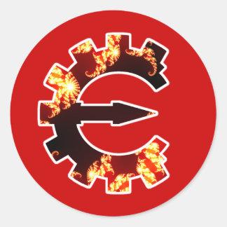 Logotipo 2 del motor del tramposo - fractal pegatina redonda