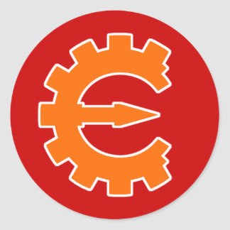 Logotipo 2 del motor del tramposo - naranja pegatina redonda