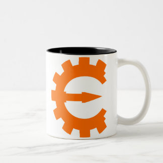 Logotipo 2 del motor del tramposo - naranja taza de dos tonos