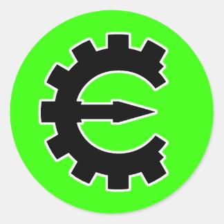 Logotipo 2 del motor del tramposo - negro pegatina redonda