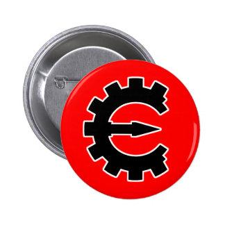 Logotipo 2 del motor del tramposo - negro pin redondo de 2 pulgadas