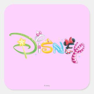 Logotipo 3 de Disney Pegatina Cuadrada