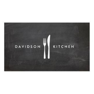 Logotipo 3 de la bifurcación y del cuchillo para plantilla de tarjeta de negocio