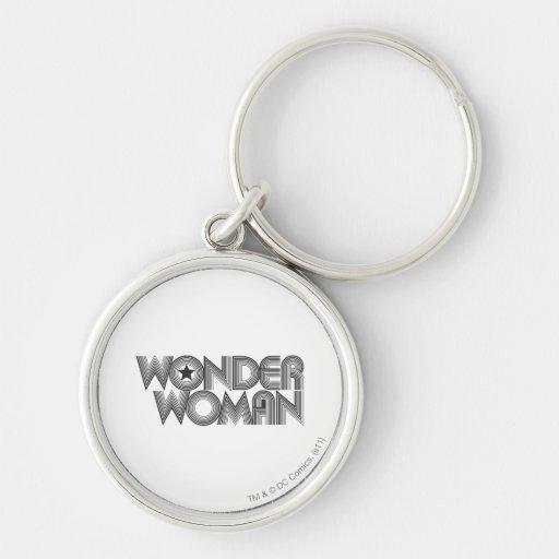 Logotipo 3 de la Mujer Maravilla B&W Llaveros