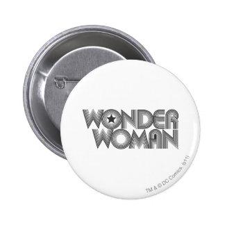 Logotipo 3 de la Mujer Maravilla B&W Pin Redondo De 2 Pulgadas