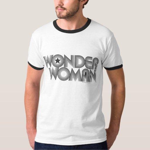 Logotipo 3 de la Mujer Maravilla B&W Playera
