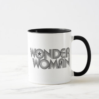 Logotipo 3 de la Mujer Maravilla B&W Taza