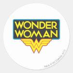 Logotipo 3 de la Mujer Maravilla Pegatinas Redondas