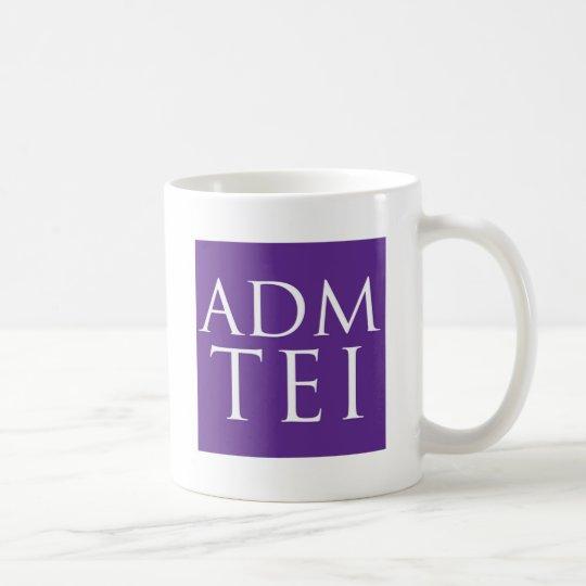 Logotipo abreviado ADMTEI - cuadrado púrpura Taza De Café