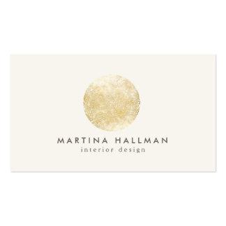 Logotipo abstracto del círculo del oro del interio tarjetas de visita