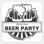 Logotipo adaptable de la cerveza calcomanías cuadradas personalizadas